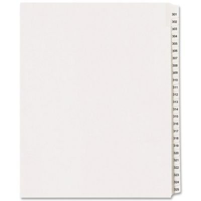 01342 Index Dividers, Side Tab, 301-325, 8-1/2 in.x11 in., White, Tab_Style - 25-Tab By Avery Dennison (Avery Dennison Vinyl)