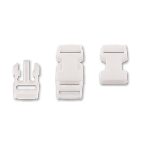 Metal Side Release Buckles - 3/4 Inch White Economy Side Release Plastic Buckles