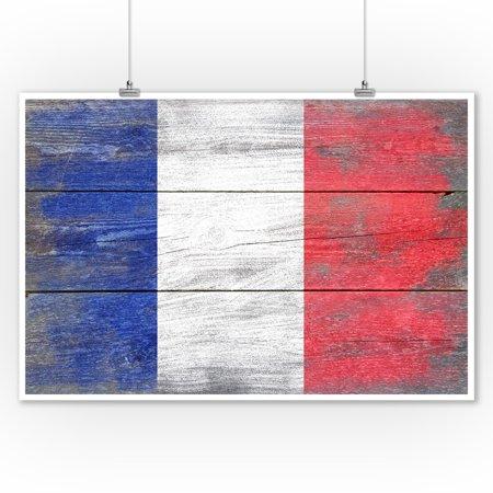 Rustic France Country Flag - Lantern Press Artwork (9x12 Art Print, Wall Decor Travel Poster)