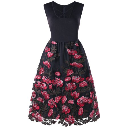 NEXTMIA - Embroidery Floral Sleeveless Vintage Dress Plus ...