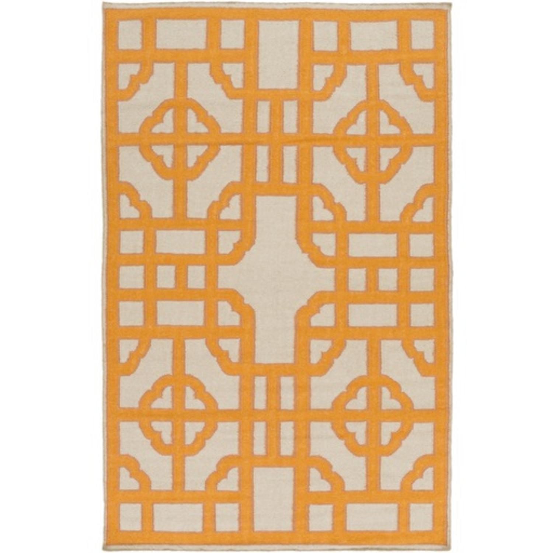 8' x 11' Bohemian Gates Pumpkin Orange and Taupe Area Throw Rug
