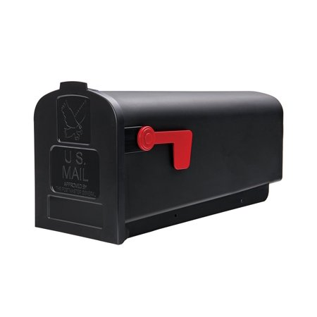 Parsons Medium Capacity Rust-Proof Plastic Black, Post-Mount Mailbox, PL10B0201, Medium capacity fits small boxes, magazines, and padded envelopes By Gibraltar -
