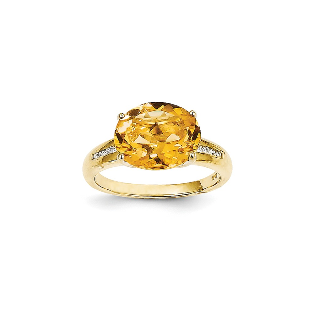 14k Yellow Gold Diamond & Citrine Oval Gemstone Ring
