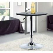 Modern Pub Style Adjustable Vinyl Covered Bar Table w/ 360 Swivel - Black