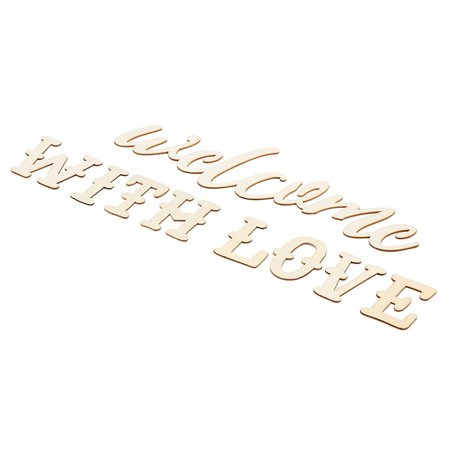 Wedding Diy Projects (Unfinished Wooden Welcome Sign - Welcome with Love Wood Letter Sign, Decorative Wooden Word Cutout for Home, Office, School, Wedding, Party Decoration, DIY)