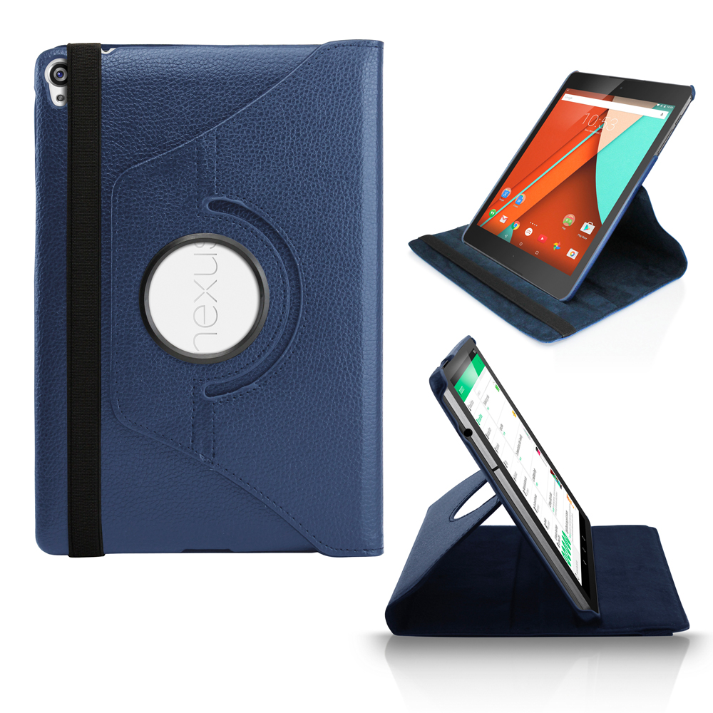 360 Rotating PU Leather Case Skin Cover Folio Stand for Google Nexus 9 Tablet