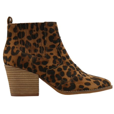 James-06 Women Western Short Ankle Pointed Toe Booties Boots Animal Leopard Print V Side Cut D'orsay Elastic Stretchy Leather Block Heel