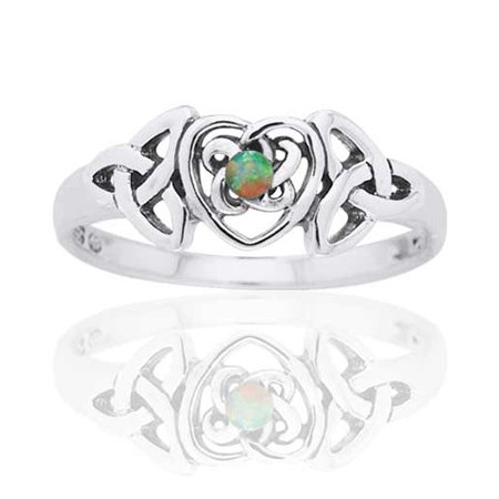 October Birthstone Ring - Sterling Silver Opal Celtic Trinity Knot Heart
