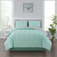 Mainstays 6 Piece Solid Bed-in-a-Bag Bedding Comforter Set with BONUS Sheets, Twin, Mint