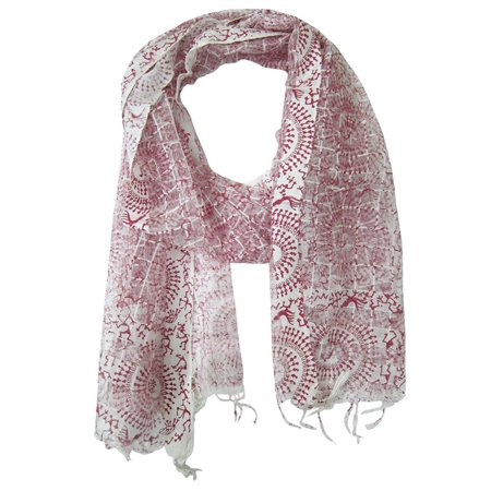 Style Long Scarf - Mogul Yoga Wear Scarve Dark Pink White Tribal Print Long Wrap Scarf Muffler Boho Style