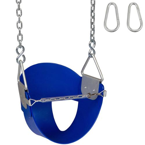 Swing Set Stuff Highback 1/ 2 Bucket Swing Seat with Chains and Hooks Blue