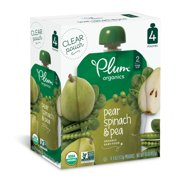 Plum Organics Stage 2 Organic Baby Food, Pear, Spinach & Pea, 4 Ounce Pouch (Pack of 4)