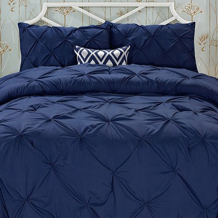 Elegant Comfort Wrinkle Resistant - All Season Luxury Silky Soft Pintuck 3-Piece Comforter Set - King Navy Blue