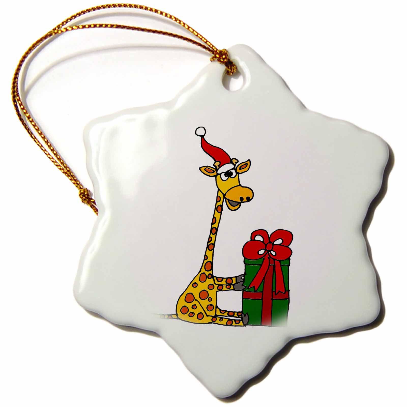 3dRose Funny Sitting Giraffe Opening Christmas Gift Original Art, Snowflake Ornament, Porcelain, 3-inch