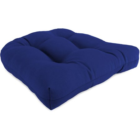 Jordan Manufacturing Outdoor Patio Wicker Chair Cushion, Veranda Cobalt - Jordan Manufacturing Outdoor Patio Wicker Chair Cushion, Veranda