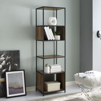 """Manor Park 70"""" Urban Industrial 5-Shelf Metal and Wood Bookcase - Multiple Finishes"""