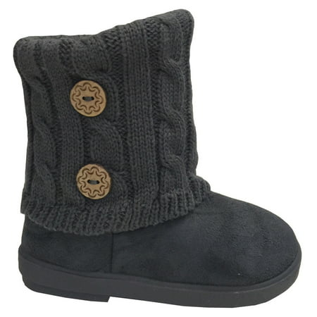 New Girls Toddlers Kids Slouch Comf Midcalf Suede Button Boots Shoes (Grey BUTTONS**, 8 Toddler) Note: Please order 1 size Bigger, These run Small. for $<!---->