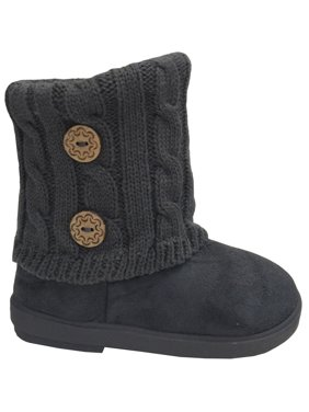 New Girls Toddlers Kids Slouch Comfort Midcalf Suede Button Boots Shoes (Color:Grey, Size: 12 Little Kid)