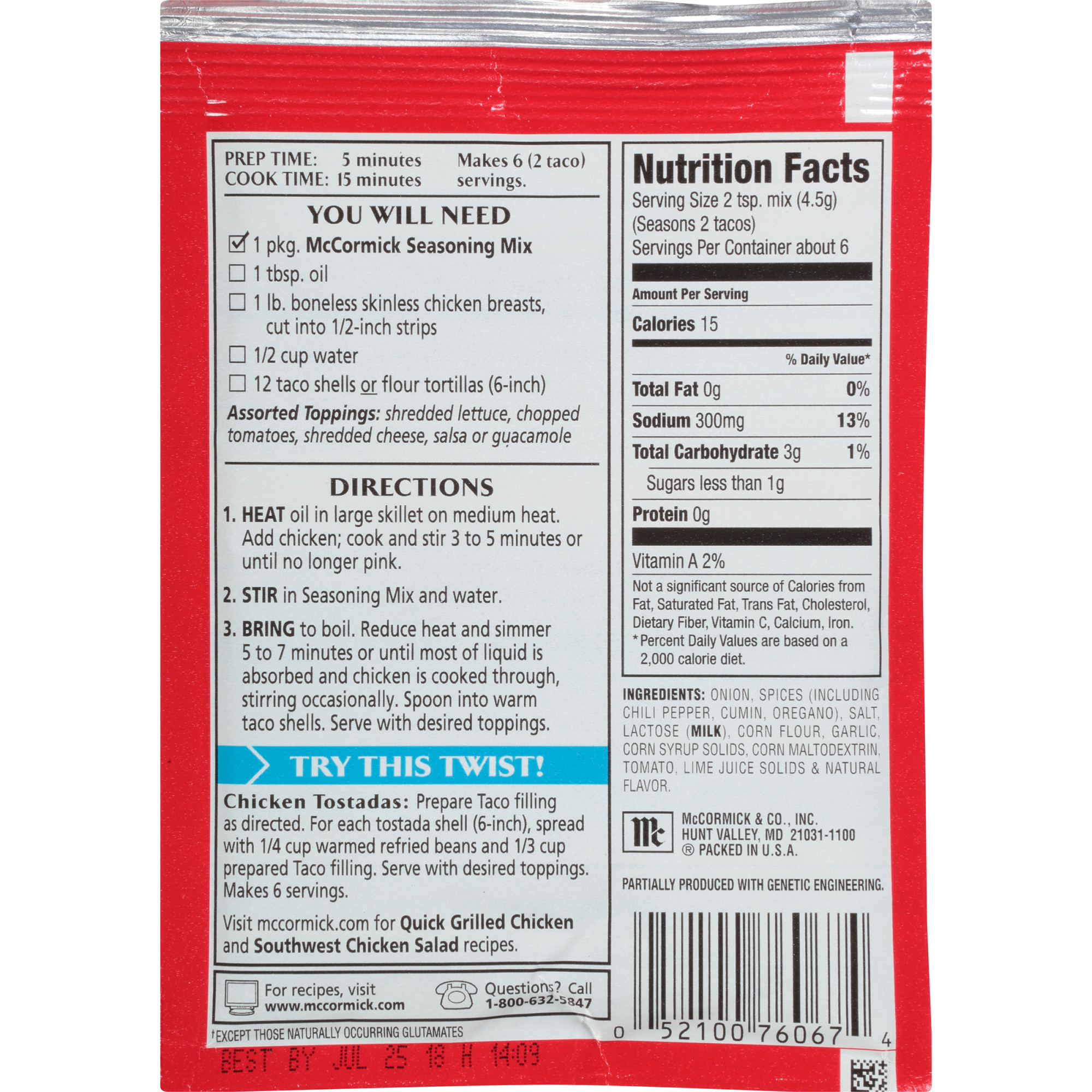 Taco Seasoning Nutrition Label Labels Ideas 2019