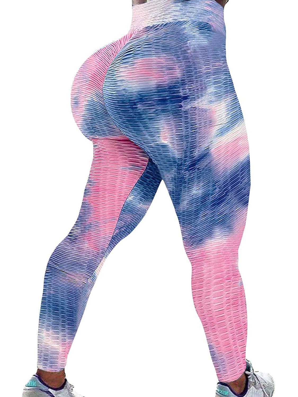 Tie Dye Leggings Booty Scrunch Leggings Women Yoga Pants Multicolor LXL