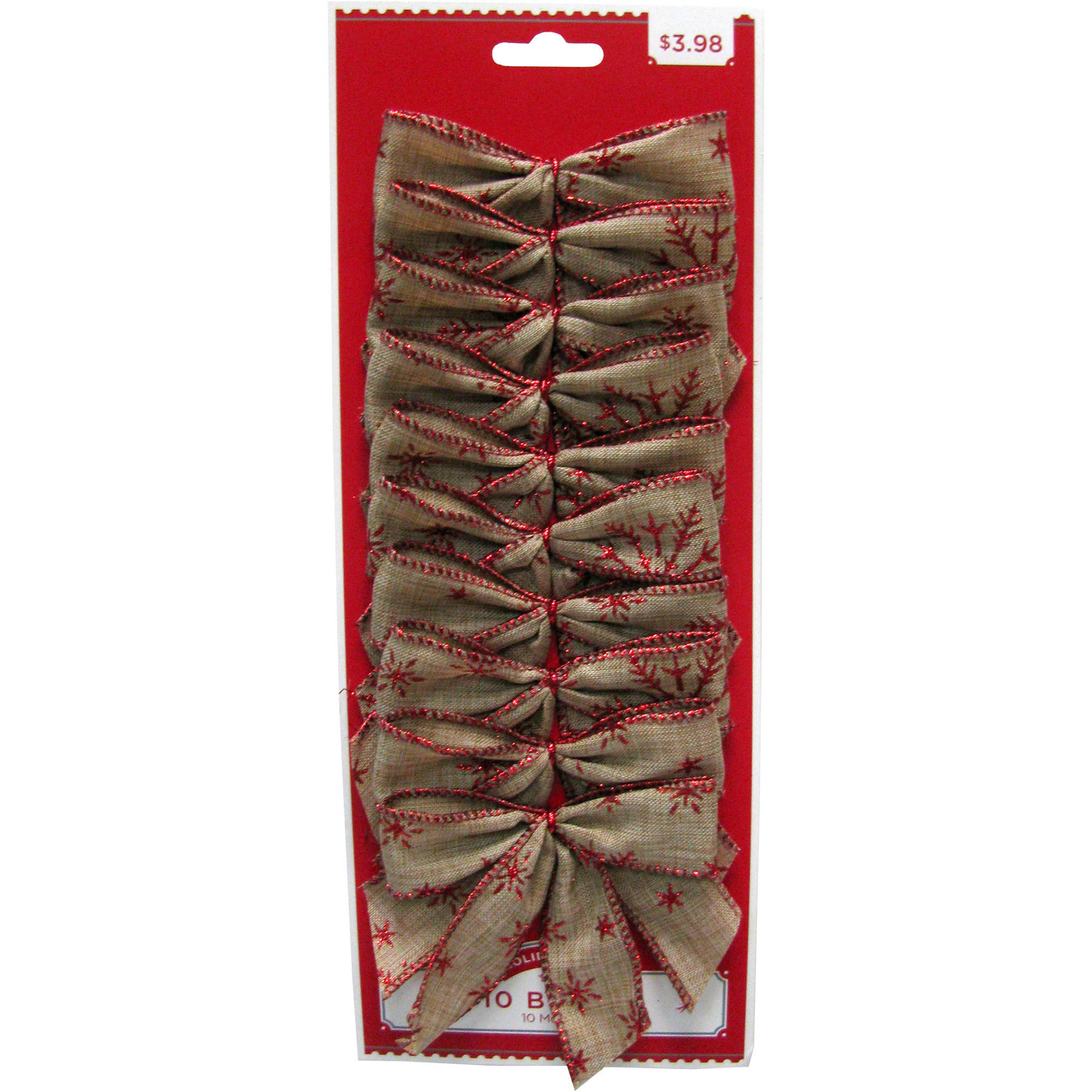 Holiday Time Natural/Red Bows, 10 Count