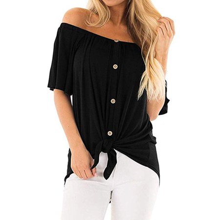 Womens Off The Shoulder Top Short Sleeve Button Down Flowy Knot