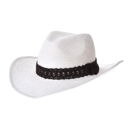 WITHMOONS Western Cowboy Hat Cool Paper Straw Banded Chin Strap GN8747 (White) ()