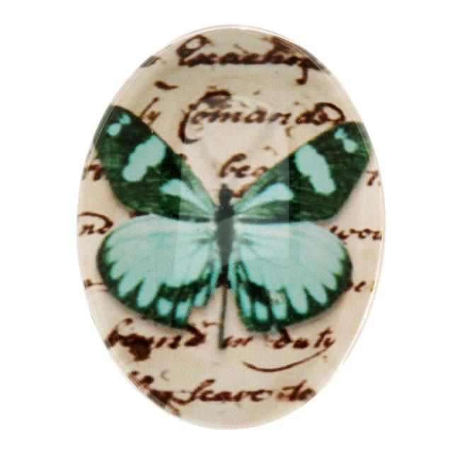 Tempered Glass Oval Cabochon Teal Green Butterfly 30x40mm (1)