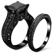 Noori Collection Noori 14k Black Gold 3 7/8ct TDW Certified Princess-cut Black Diamond Bridal Set