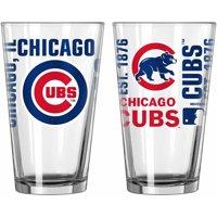 Boelter Brands MLB Set of Two 16 Ounce Spirit Pint Glass Set, Chicago Cubs