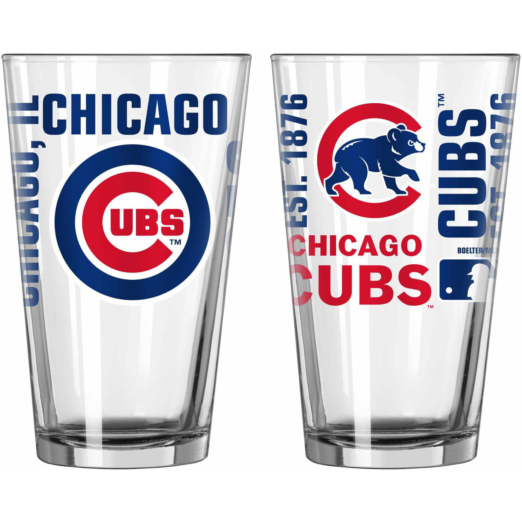 Boelter Brands MLB Set of Two 16 Ounce Spirit Pint Glass Set, Chicago Cubs