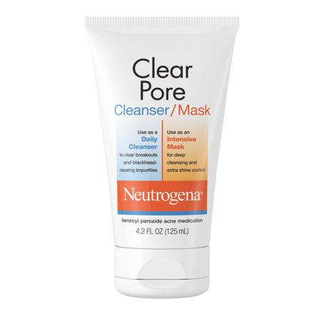 Neutrogena Clear Pore Acne Fighting Clay Benzoyl Peroxide Face Wash/Facial Mask, 4.2 oz