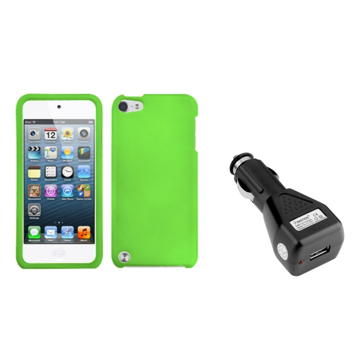 Insten Dr Green Phone Cover(Rubberized) Case For iPod Touch 6 6G 5 5G +USB Car Charger