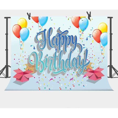 HelloDecor Polyster 7x5ft Happy Birthday Backdrop Photography Props Photo Background Party Room Mural