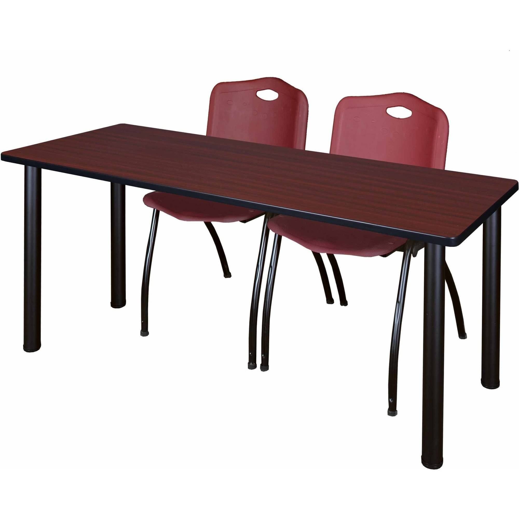 "Regency Kee 60"" x 24"" Training Table, Mahogany/Black and 2 'M' Stack Chairs, Multiple Colors"