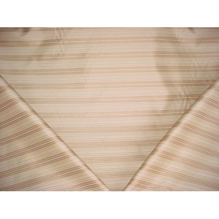 24H11 - Champagne Gold / Almond, Metallic Gold Faux Silk Stripe Designer Upholstery Drapery Fabric - By the Yard Silk Designer Drapery Faux Fabric