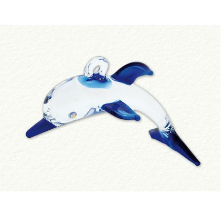 Blue and Clear Dolphin Egyptian Glass Christmas Tree Ornament Made in Egypt New ()