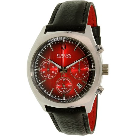 Accutron Black Bracelet - Bulova Men's Accutron II 96B238 Black Leather Quartz Watch