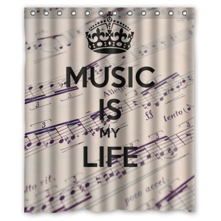 HelloDecor Music Is My Life Notes Background Shower Curtain Polyester Fabric Bathroom Decorative Size