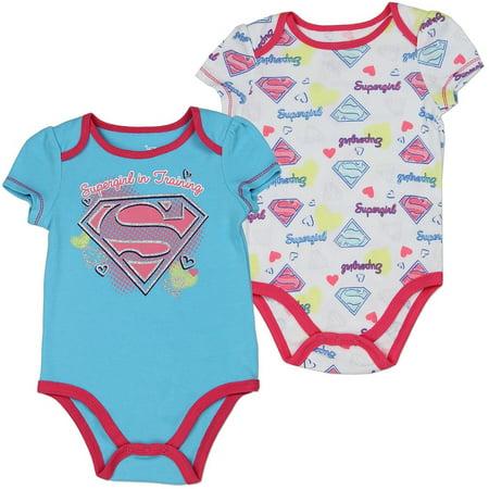 DC Comics Baby Girls' Supergirl 2 Pack Creeper Set