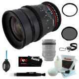 "Rokinon 35mm T1.5 ""Cine"" UMC Wide-Angle Lens for Canon + Tiffen 77mm Circular Polarizer and UV Protector Filter + Accessory Kit"