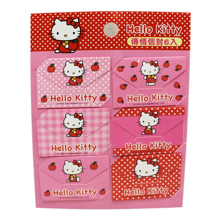 Hello Kitty Assorted Pattern Design Pink/Red Mini Envelope Note Kit (6 Notes)