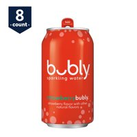 bubly Sparkling Water, Strawberry, 12 oz Cans, 8 Count