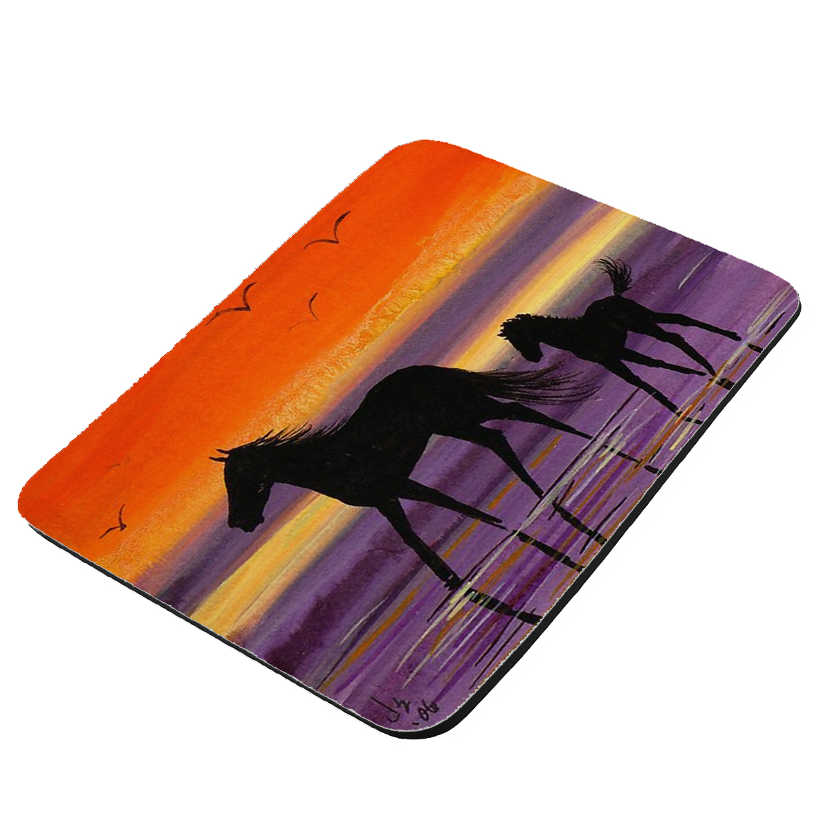 Beach Ponies at Twilight Horse Art by Denise Every - KuzmarK Mousepad / Hot Pad / Trivet