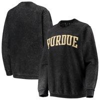 Purdue Boilermakers Pressbox Women's Comfy Cord Vintage Wash Basic Arch Pullover Sweatshirt - Black