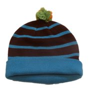 Aquarius Boys Colorful Knit Striped Blue & Brown Beanie Pom Pom Hat Stocking Cap