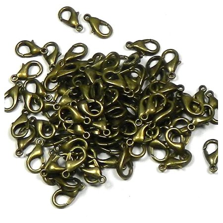 100 Antiqued Brass/gold Plated Lobster Claw Findings Clasps 12x7mm 100pc