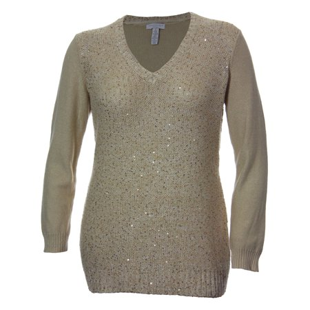 Charter Club Long Sleeve Sequin Front Shimmer V-Neck Sweater (3x, Gold Dust)