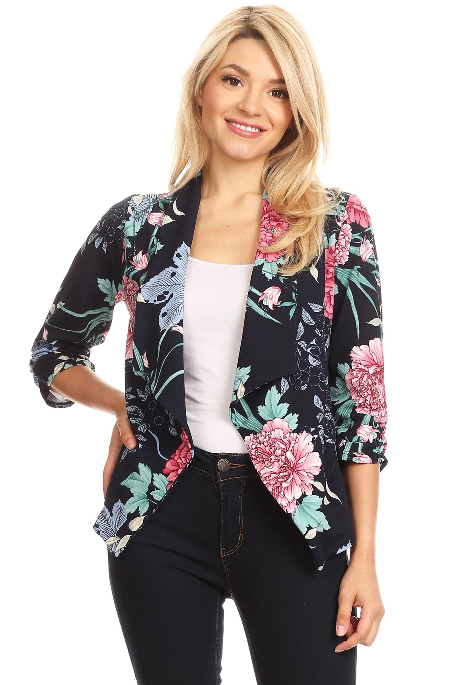 Women's Trendy Style 3/4 Sleeves Print Open Jacket