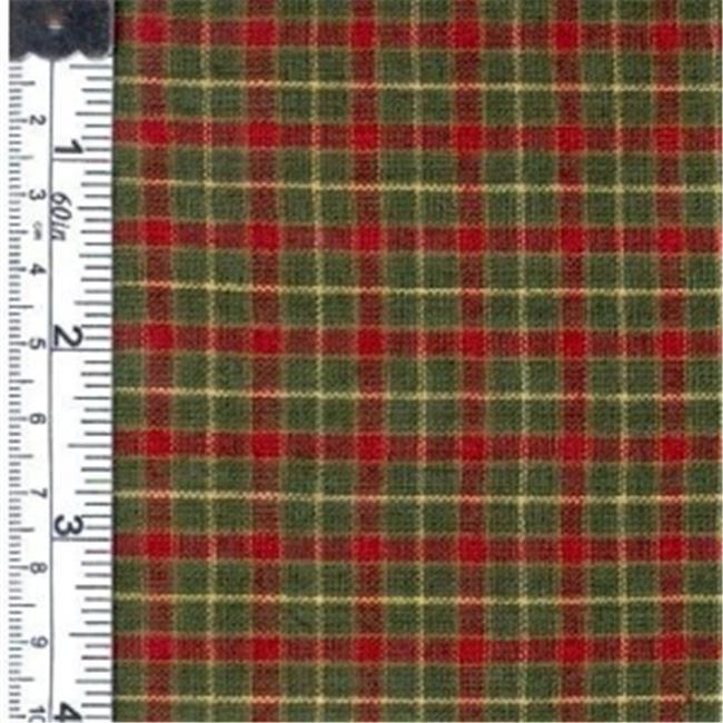 Textile Creations 562 Rustic Woven Fabric, Plaid Green, Red And Yellow, 15 yd.